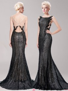 Mermaid Square Clasp Handle Black Sleeveless Brush Train Appliques and Sequins With Train Dress for Prom