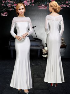 Glorious Off the Shoulder Backless Elastic Woven Satin Long Sleeves Floor Length and Ruching