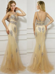 Mermaid Scoop Gold Backless Beading Cap Sleeves With Brush Train