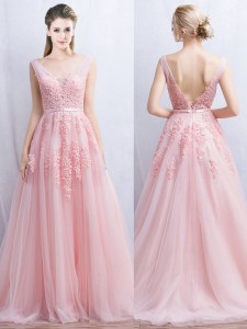 Sleeveless Brush Train Backless With Train Appliques and Belt Prom Party Dress
