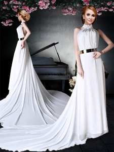Amazing White Backless Halter Top Appliques and Belt Prom Party Dress Chiffon Sleeveless Court Train