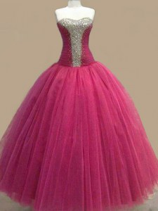 Fuchsia Sweetheart Lace Up Beading Dress for Prom Sleeveless