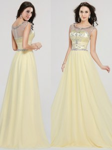 Extravagant Scoop Light Yellow Chiffon Zipper Prom Dresses Sleeveless Floor Length Beading