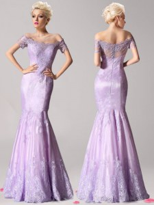 Mermaid Off the Shoulder Short Sleeves Beading and Lace Zipper Prom Party Dress