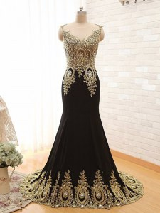 Wonderful Scoop With Train Black Prom Dress Elastic Woven Satin Brush Train Sleeveless Beading and Appliques