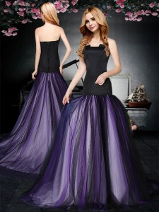 Sleeveless With Train Ruching Lace Up Prom Party Dress with Black and Purple Brush Train