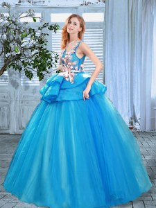 Scoop Blue Sleeveless Organza Lace Up Quinceanera Dress for Prom
