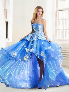 Modest Strapless Sleeveless Lace Up 15 Quinceanera Dress Blue Organza