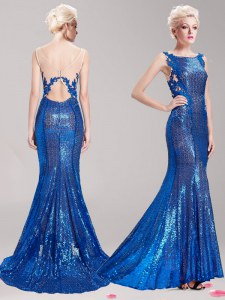 Colorful Mermaid Square Blue Sleeveless With Train Appliques and Sequins Clasp Handle Dress for Prom