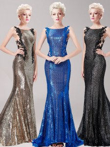 Low Price Mermaid Square Brown Clasp Handle Prom Dress Appliques and Sequins Sleeveless With Brush Train