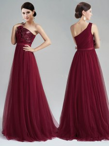 High End Burgundy Empire One Shoulder Sleeveless Tulle With Brush Train Zipper Appliques and Sequins and Belt Prom Dress