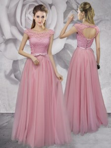 Tulle Scoop Cap Sleeves Lace Up Lace and Ruching and Bowknot Prom Gown in Pink