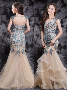 High Class Mermaid Sleeveless With Train Appliques and Ruffles Zipper Prom Gown with Champagne Brush Train