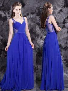 Most Popular V-neck Sleeveless Chiffon Prom Dress Beading Side Zipper