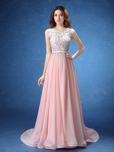 Baby Pink Empire Scoop Sleeveless Chiffon With Brush Train Zipper Lace and Appliques and Belt Evening Dress