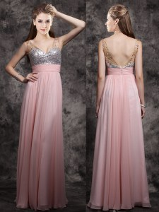 Custom Fit Baby Pink Sleeveless Beading and Sequins Floor Length Prom Gown