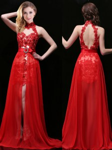 Excellent Halter Top Coral Red Chiffon and Lace Backless Sleeveless With Brush Train Lace and Sashes ribbons