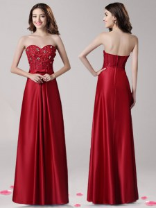 Sweet Sweetheart Sleeveless Zipper Prom Dresses Wine Red Elastic Woven Satin