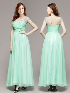 Great Apple Green Zipper V-neck Beading Prom Party Dress Chiffon Sleeveless