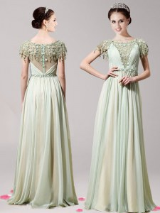 Clearance Empire Homecoming Dress Apple Green Scoop Chiffon Short Sleeves Floor Length Zipper