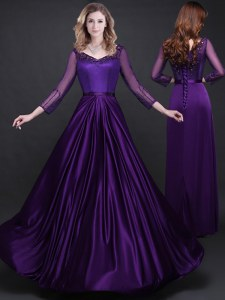Extravagant Purple Elastic Woven Satin Lace Up Long Sleeves Floor Length Prom Dress Appliques and Belt