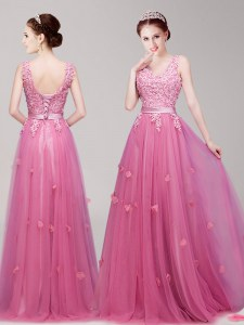 Custom Designed Sleeveless Tulle Floor Length Lace Up Prom Evening Gown in Pink with Appliques and Belt