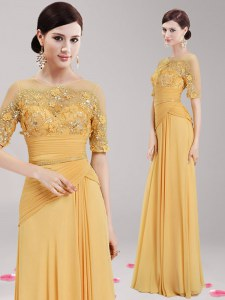 Custom Design Scoop Half Sleeves Homecoming Dress Floor Length Appliques and Belt Gold Chiffon