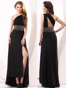 Chic Black Empire One Shoulder Sleeveless Chiffon Floor Length Backless Beading Prom Evening Gown