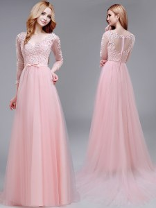 Glorious Brush Train Empire Winning Pageant Gowns Baby Pink V-neck Tulle 3 4 Length Sleeve With Train Zipper