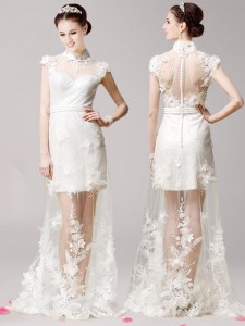 White Clasp Handle Prom Evening Gown Lace and Appliques Cap Sleeves With Brush Train
