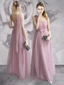 Fitting One Shoulder Sleeveless Lace Up Floor Length Ruching and Bowknot and Hand Made Flower Evening Dress