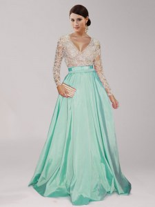 Apple Green V-neck Neckline Beading and Belt Prom Gown Long Sleeves Zipper