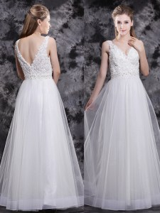 White V-neck Zipper Beading and Appliques Prom Party Dress Sleeveless