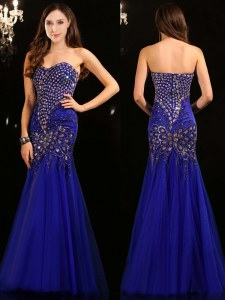 Mermaid Royal Blue Zipper Sweetheart Beading Prom Gown Tulle Sleeveless