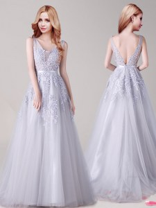Sumptuous Sleeveless Tulle Floor Length Backless Prom Dresses in Silver with Appliques and Belt