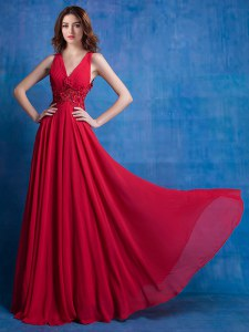 Red Empire Chiffon V-neck Sleeveless Appliques Floor Length Backless Prom Gown