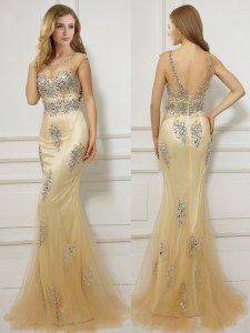 Best Mermaid Scoop Cap Sleeves Brush Train Backless Prom Party Dress Gold Tulle