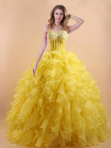 Gold Sweetheart Neckline Appliques and Ruffles Quinceanera Dresses Sleeveless Lace Up