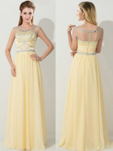 Enchanting Scoop Floor Length Zipper Dress for Prom Gold for Prom with Beading