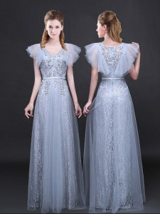 Empire Dress for Prom Grey V-neck Tulle and Lace Short Sleeves Floor Length Zipper