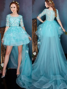 Eye-catching Aqua Blue A-line Square Half Sleeves Organza High Low Zipper Beading Homecoming Dress