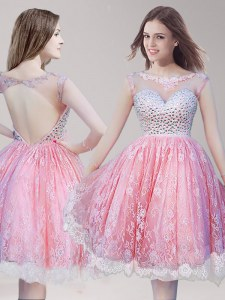 Comfortable Scoop Sleeveless Lace Knee Length Backless Prom Dresses in Pink And White with Beading