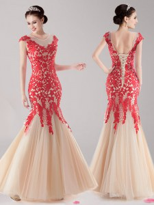 Cheap Mermaid Red and Champagne Scoop Neckline Lace Cap Sleeves Lace Up