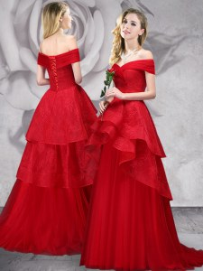 Beauteous Red A-line Tulle Off The Shoulder Sleeveless Lace With Train Lace Up Prom Party Dress Brush Train