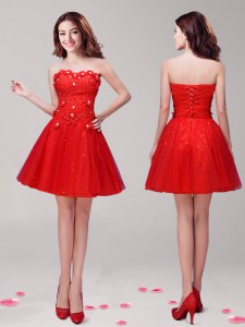 Delicate Mini Length Red Homecoming Dress Tulle Sleeveless Beading and Appliques