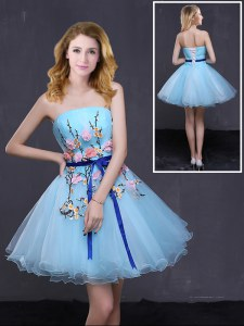 Sophisticated Baby Blue A-line Organza Strapless Sleeveless Appliques and Belt Mini Length Lace Up Prom Dress