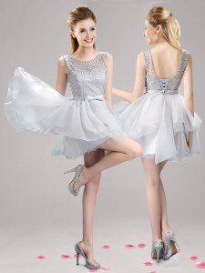 Scoop Grey Sleeveless Lace and Ruffles and Bowknot Mini Length Prom Gown