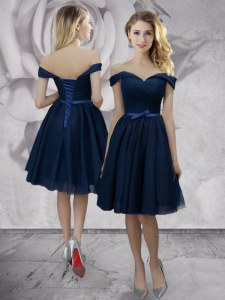 Exceptional Off the Shoulder Navy Blue Sleeveless Bowknot Knee Length