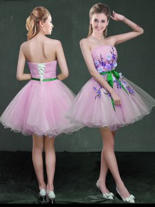 Luxurious Strapless Sleeveless Prom Dress Mini Length Appliques and Belt Lilac Organza