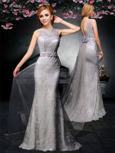Sophisticated Grey Backless Prom Evening Gown Lace and Belt Sleeveless With Train Watteau Train